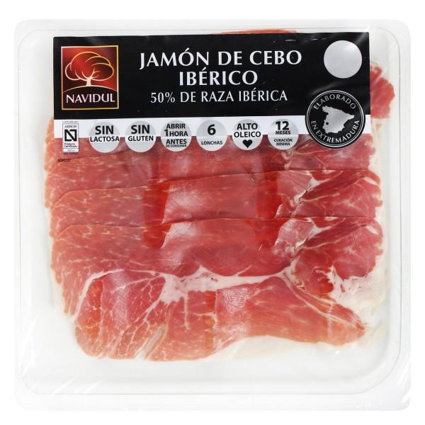 Jambon Ibérique Cebo Navidul tranché 80 gr Sans gluten Sans lactose