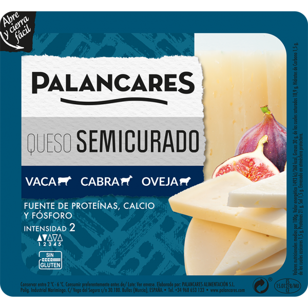 Glutenvrij Half gezouten gemengde kaas Palancares 200 gr